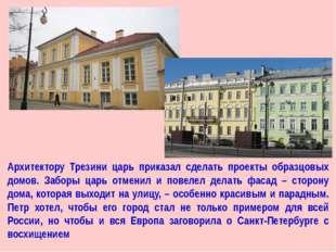 Архитектору Трезини царь приказал сделать проекты образцовых домов. Заборы ца