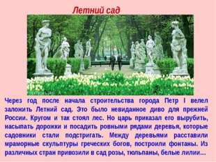 Через год после начала строительства города Петр I велел заложить Летний сад.