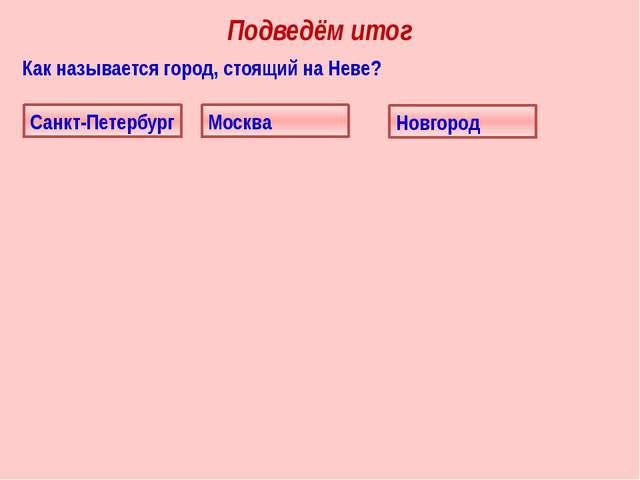 Как называется город, стоящий на Неве? Подведём итог Санкт-Петербург Москва Н...