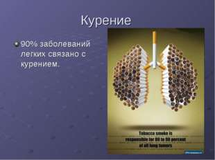 Курение 90% заболеваний легких связано с курением.