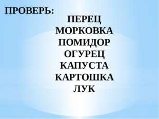 ПРОВЕРЬ: ПЕРЕЦ МОРКОВКА ПОМИДОР ОГУРЕЦ КАПУСТА КАРТОШКА ЛУК