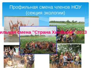 """Профильная смена членов НОУ (секция экологии) Профильная смена """"Страна Хинга"""