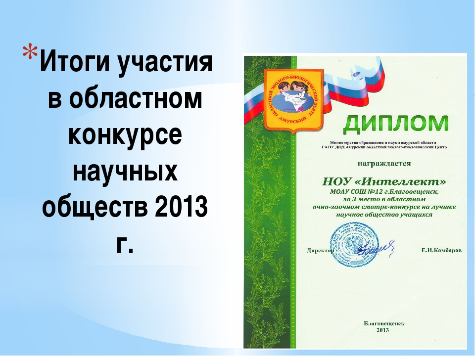 Итоги участия в областном конкурсе научных обществ 2013 г.