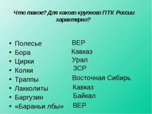 Что такое? Для какого крупного ПТК России характерно? Полесье Бора Цирки Колк