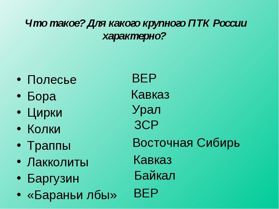 Что такое? Для какого крупного ПТК России характерно? Полесье Бора Цирки Колк...
