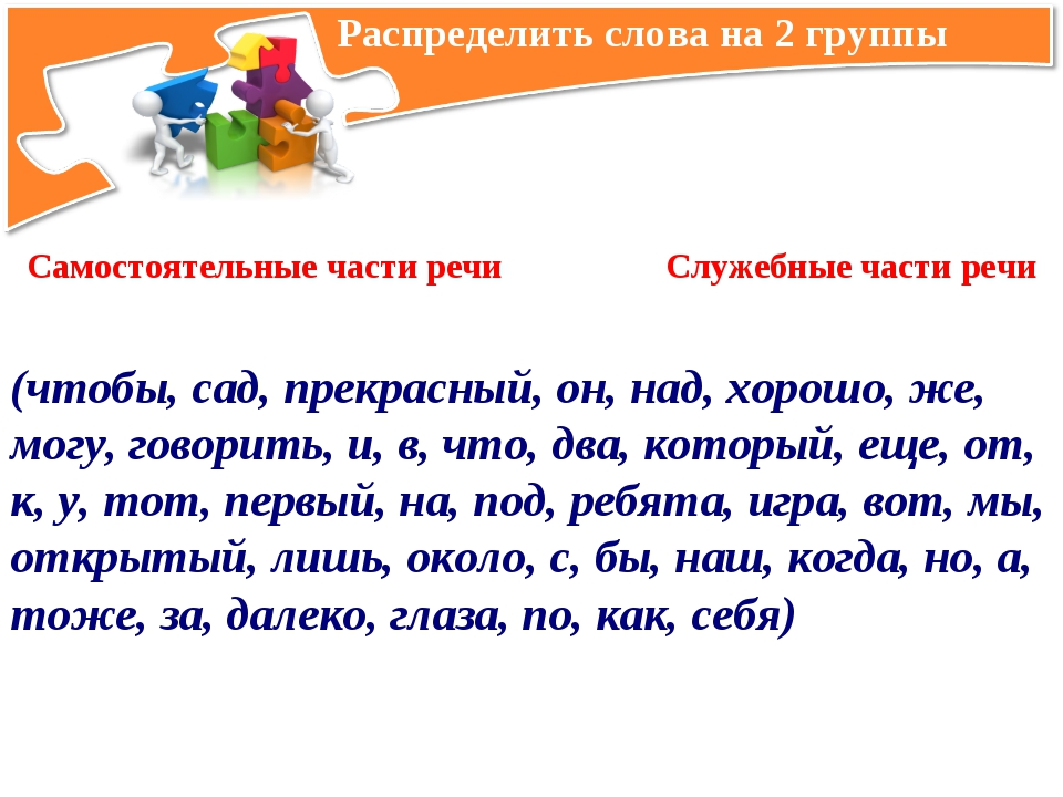 Распределить слова на 2 группы Самостоятельные части речи Служебные части ре...