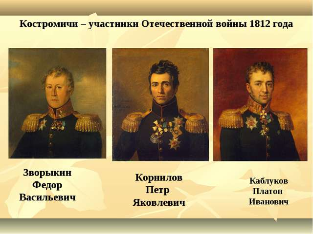Костромичи – участники Отечественной войны 1812 года Зворыкин Федор Васильеви...