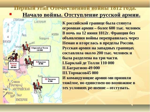 Первый этап Отечественной войны 1812 года. Начало войны. Отступление русской...