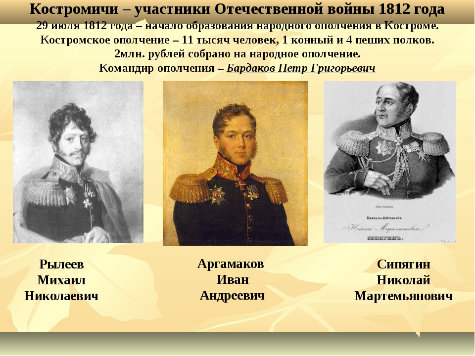 Костромичи – участники Отечественной войны 1812 года 29 июля 1812 года – нача...