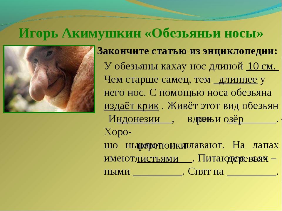 Игорь Акимушкин «Обезьяньи носы» Закончите статью из энциклопедии: У обезьяны...