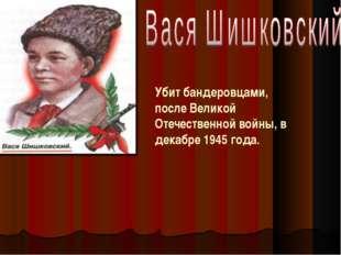 Убит бандеровцами, после Великой Отечественной войны, в декабре 1945 года.