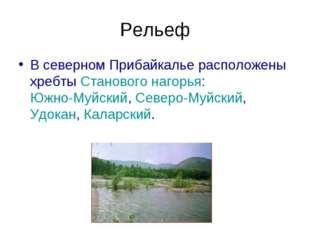 Рельеф В северном Прибайкалье расположены хребты Станового нагорья: Южно-Муйс