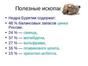 Полезные ископаемые Недра Бурятии содержат: 48% балансовых запасов цинка Рос