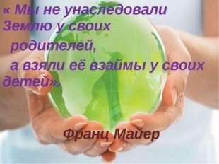 « Мы не унаследовали Землю у своих родителей, а взяли её взаймы у своих детей