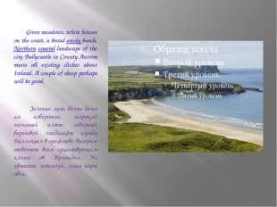 Green meadows, white houses on the coast, a broad sandy beach, Northern coas