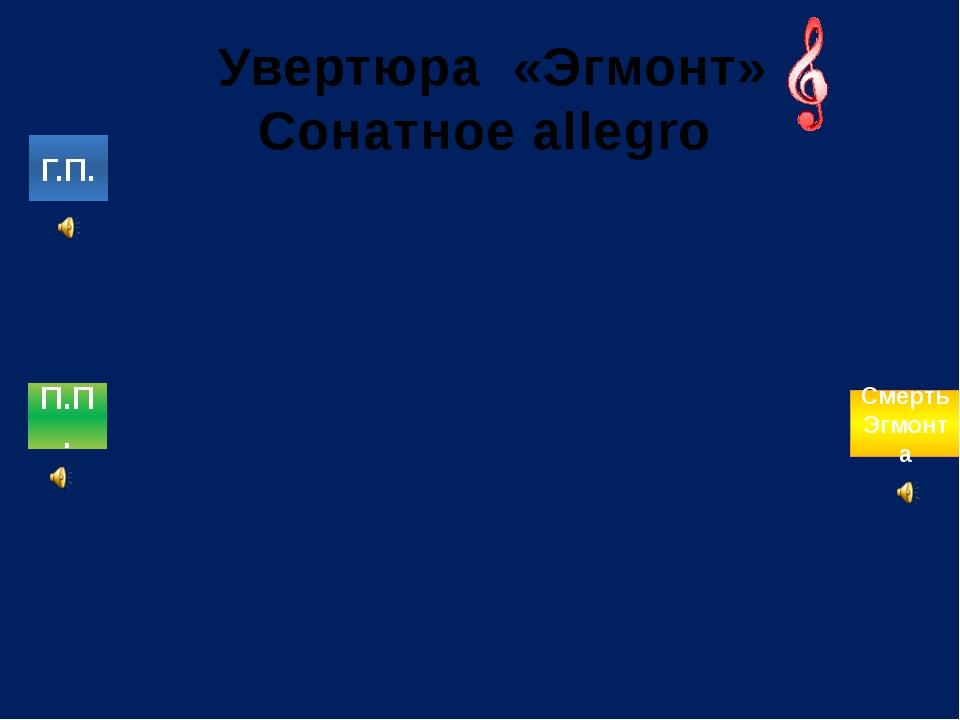Увертюра «Эгмонт» Сонатное allegro Г.П. П.П. Смерть Эгмонта