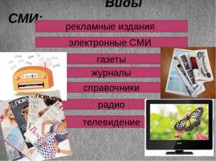 Виды СМИ: рекламные издания электронные СМИ газеты журналы справочники радио