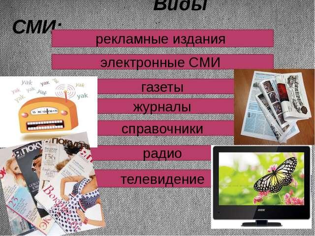 Виды СМИ: рекламные издания электронные СМИ газеты журналы справочники радио...