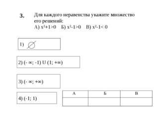 3. 4) (-1; 1) 3) (- ∞; +∞) 2) (- ∞; -1) U (1; +∞) Для каждого неравенства ука