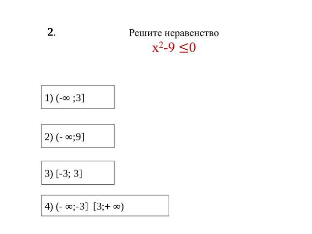 2. 3) [-3; 3] 1) (-∞ ;3] 2) (- ∞;9] 4) (- ∞;-3] [3;+ ∞)