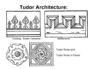 Tudor Architecture: Cresting - Exeter Cathedral Battlements Tudor Rose and Tu