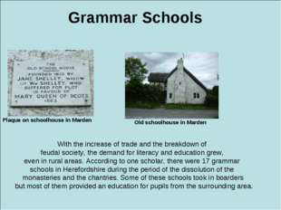 Grammar Schools Plaque on schoolhouse in Marden Old schoolhouse in Marden Wit