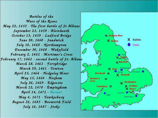 Battles of the Wars of the Roses May 22, 1455 - The first battle of St Albans...