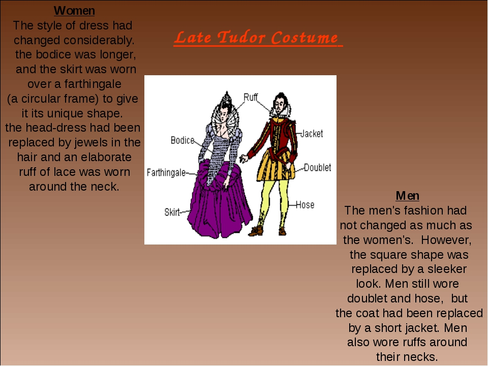 Late Tudor Costume Women The style of dress had changed considerably. the bod...