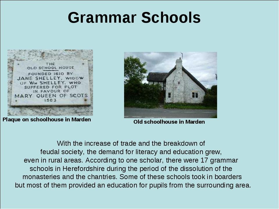 Grammar Schools Plaque on schoolhouse in Marden Old schoolhouse in Marden Wit...
