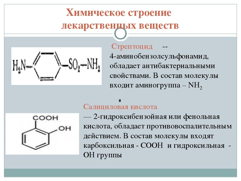 Химическое строение лекарственных веществ Стрептоцид -- 4-аминобензолсульфона...