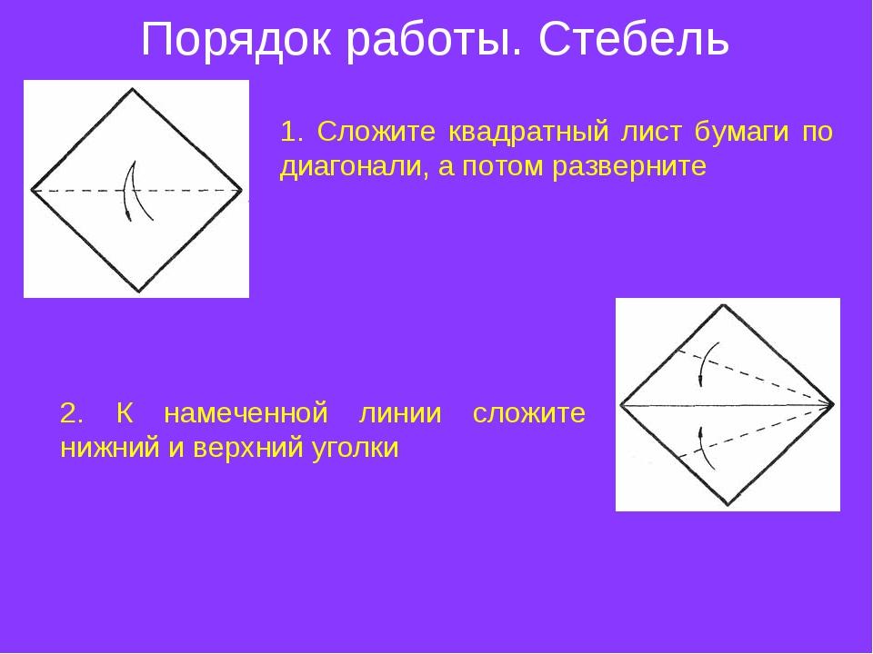 Порядок работы. Стебель 1. Сложите квадратный лист бумаги по диагонали, а пот...