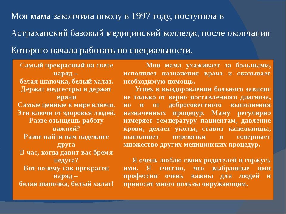 Моя мама закончила школу в 1997 году, поступила в Астраханский базовый медици...