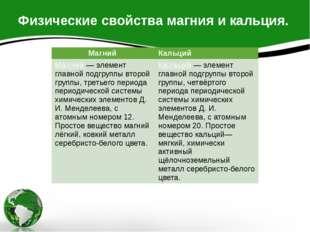 Физические свойства магния и кальция. Магний Кальций Ма́гний— элемент главной