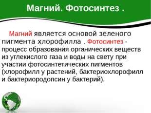 Магний. Фотосинтез . Магний является основой зеленого пигмента хлорофилла . Ф