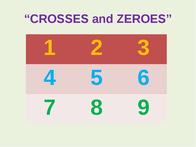 """CROSSES and ZEROES"" 1 2 3 4 5 6 7 8 9"