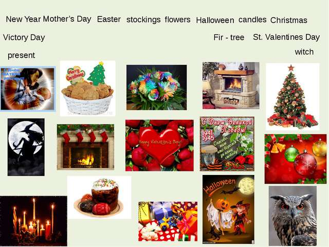 New Year Easter candles present St. Valentines Day Christmas Victory Day Hall...