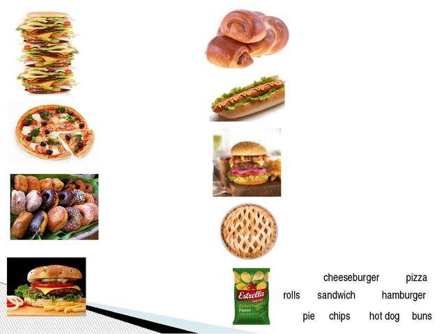 cheeseburger pizza rolls sandwich buns hot dog hamburger pie chips