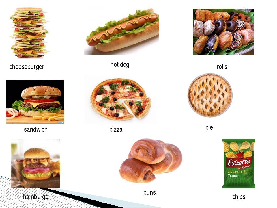 cheeseburger hot dog sandwich hamburger pizza rolls buns pie chips