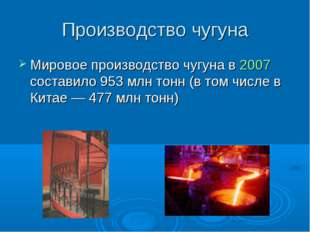 Производство чугуна Мировое производство чугуна в 2007 составило 953млн тонн