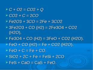 C + O2 = CO2 + Q CO2 + C = 2CO Fe2O3 + 3CO = 2Fe + 3CO2 3Fe2O3 + CO (H2) = 2F
