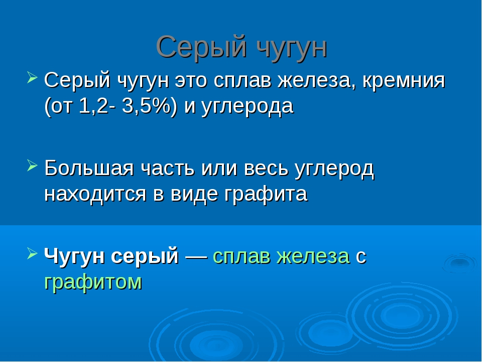 Серый чугун Серый чугун это сплав железа, кремния (от 1,2- 3,5%) и углерода Б...