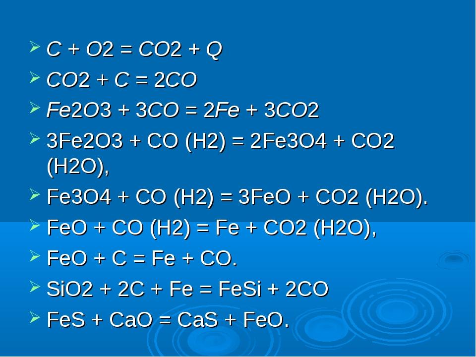 C + O2 = CO2 + Q CO2 + C = 2CO Fe2O3 + 3CO = 2Fe + 3CO2 3Fe2O3 + CO (H2) = 2F...