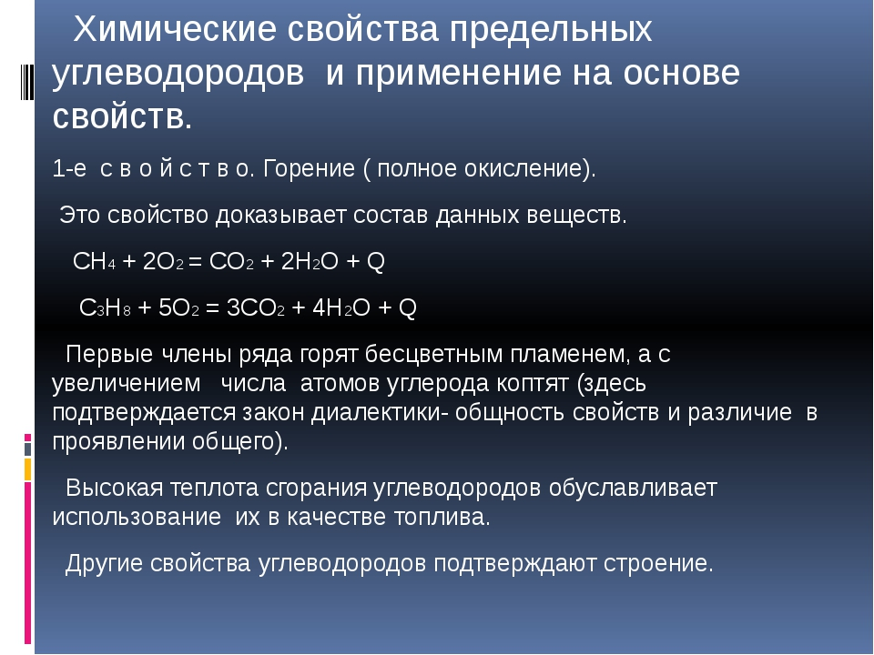 Химические свойства предельных углеводородов и применение на основе свойств....