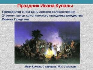 Праздник Ивана Купалы Приходился он на день летнего солнцестояния – 24 июня,