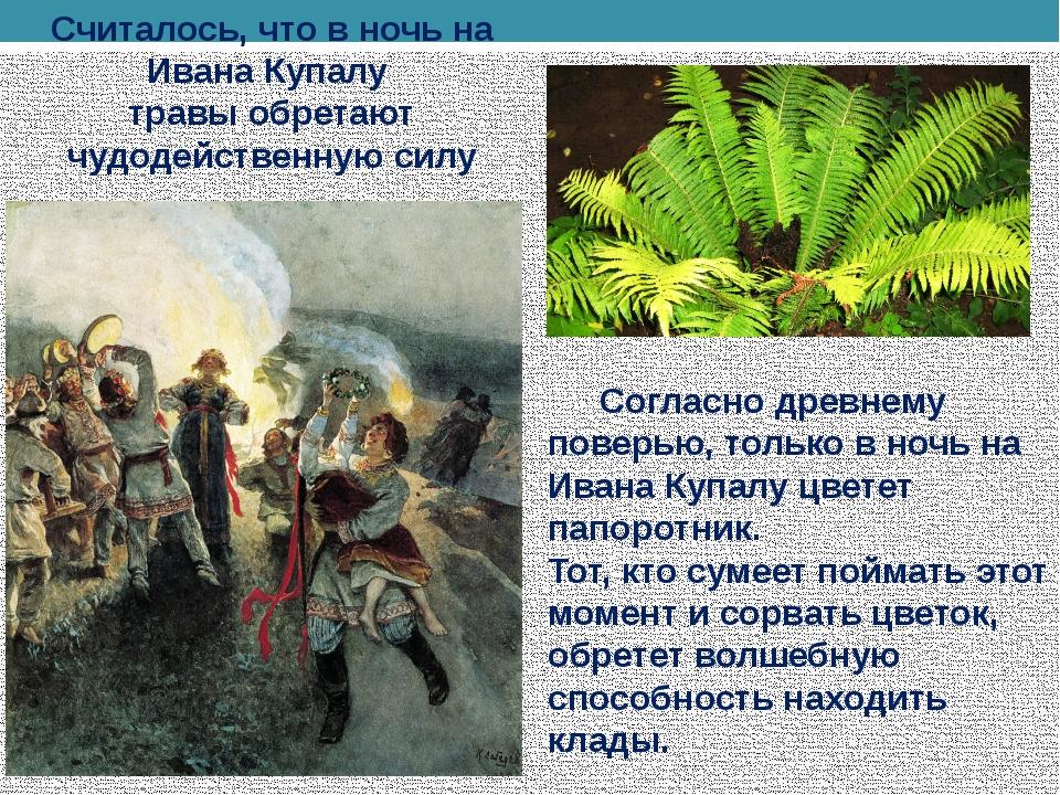 Считалось, что в ночь на Ивана Купалу травы обретают чудодейственную силу Со...