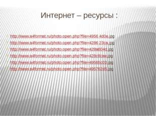 Интернет – ресурсы :   http://www.a4format.ru/photo.open.php?file=4956 4d0e.j