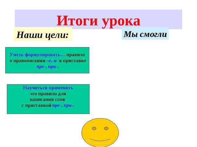 Итоги урока Уметь формулировать… правило о правописании –е,-и в приставке пре...