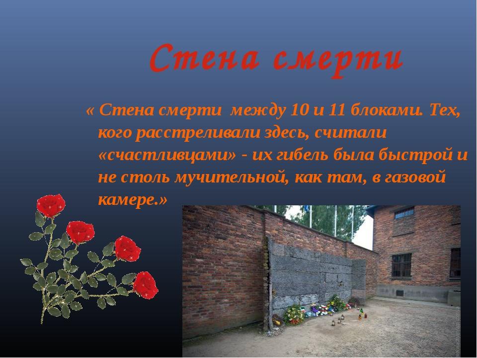 Стена смерти « Стена смерти между 10 и 11 блоками. Тех, кого расстреливали зд...