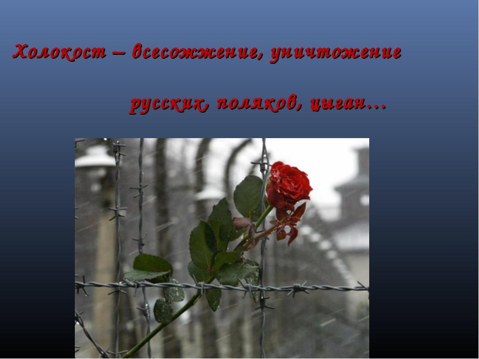 Холокост – всесожжение, уничтожение русских, поляков, цыган…