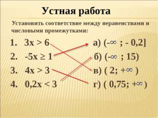 Установить соответствие между неравенствами и числовыми промежутками: 1. 3x